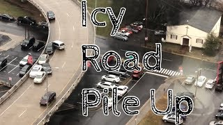 ICY ROADS!! Cars crashing one after another, PILING UP! Downtown Knoxville, T
