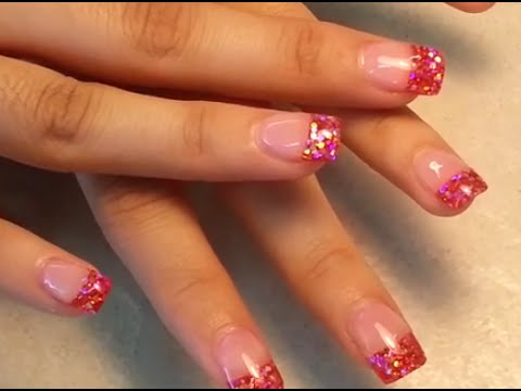 Pink Glitter Tip Acrylic Nails Tips Acrylic Fingers Nail