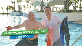 Greg T Jumps In The Pool With All Skeery's Clothes On | Elvis Duran Exclusive