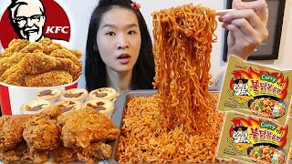 KFC & Curry Fire Noodles!! Crunchy Curry Fried Chicken, Hot & Spicy Ramen | Mukbang w/ Eating Sounds