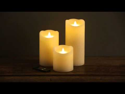 50505 Set of 3 Dazzler Candles Twin Light Flameless Flickering Candles with Remote Control
