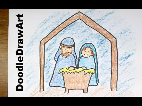 how to draw mary mother of god step by step