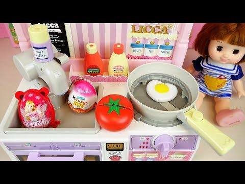 Baby doll Kitchen and surprise eggs cooking food toys play