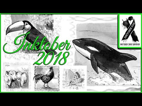 #Inktober2018 - Tiere zeichnen Challenge mein Rückblick Oktober 2018 - by Jaana Kern JaJoFo
