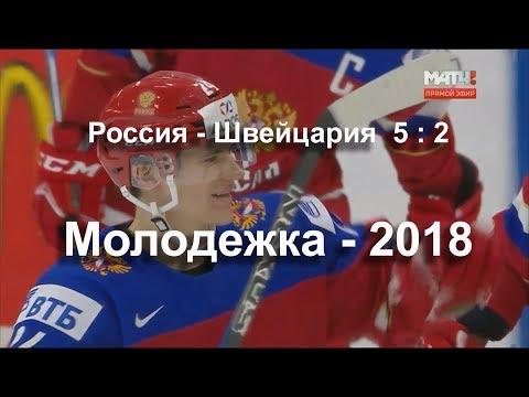 Голы Россия-Швейцария 5:2 Молодежный Чемпионат Мира по хоккею 2018 Баффало 28 декабря