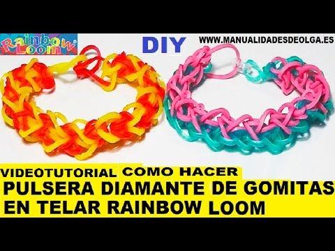 COMO HACER UNA PULSERA MODELO DIAMANTE DE GOMITAS (LIGAS). TELAR RAINBOW LOOM TUTORIAL ESPAÑOL DIY