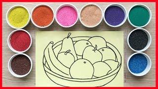 Đồ chơi trẻ em TÔ MÀU TRANH CÁT táo, đủ đủ, chanh, cam.. Learn colors Sand Painting Toys (Chim Xinh)