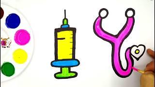 Vẽ và tô màu đồ chơi bác sĩ cho bé | Doctor toys Coloring Pages For Kids