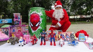 Giant Egg Suprise Opening Spiderman - Santa claus Christmas toys
