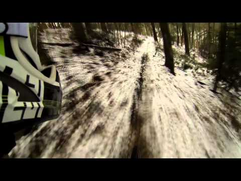 Downhill Ride in Snow (with crashes) GoPro