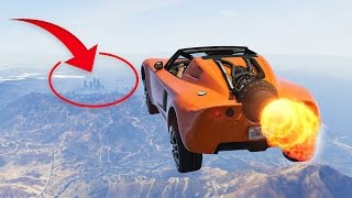 IMPOSSIBLE ROCKET CAR FLYING CHALLENGE! (GTA 5 Funny Moments)