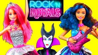 Barbie Rock 'N Royals Courtney & Erika singing Dolls (new Movie) meet Elsa Anna Maleficent.