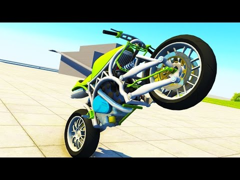 FIRST WORKING MOTORCYCLE! - BeamNG Drive Custom Sports Bike (Crashes and Funny Moments)