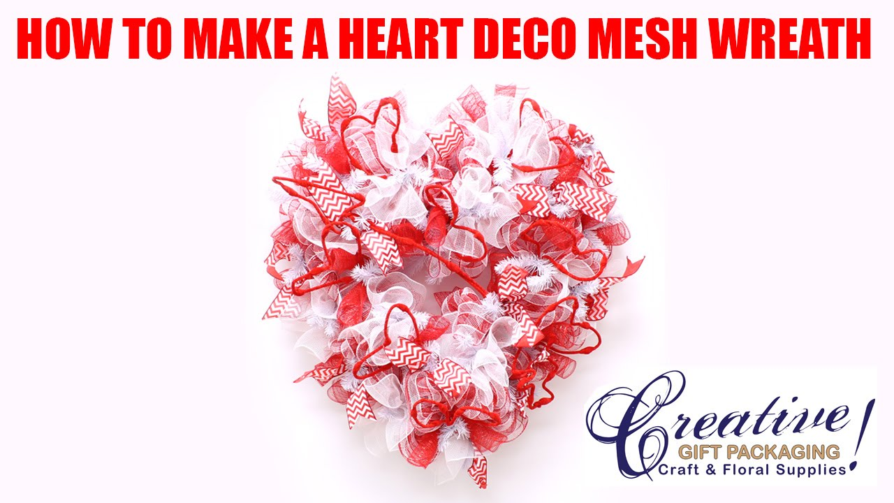 Valentine Heart Deco Mesh Wreath From Creative Gift