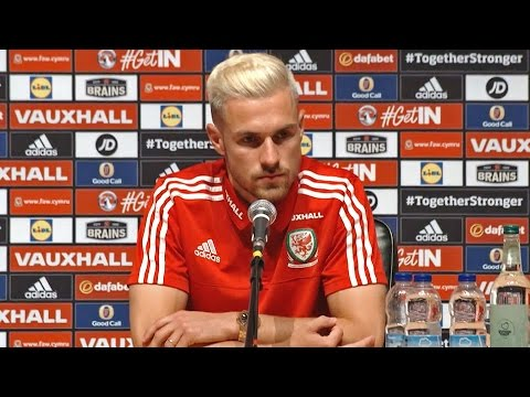 Aaron Ramsey speaks to the press ahead of Wales v England
