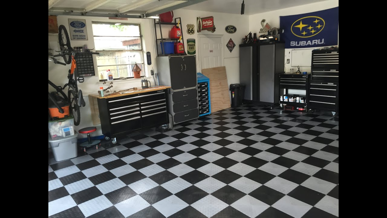 Garage floor tiling