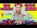 MIXING 100 LIPSTICKS INTO A GIANT CLEAR SLIME! | SO SATISFYING UGH!
