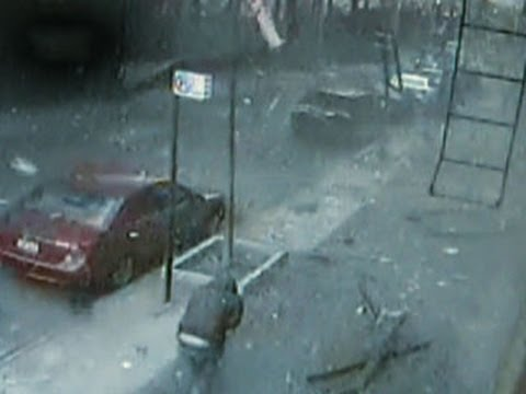 Harlem building explosion caught on tape
