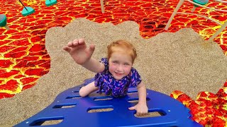 THE FLOOR IS LAVA CHALLENGE!! at the park with my baby brother lava monster