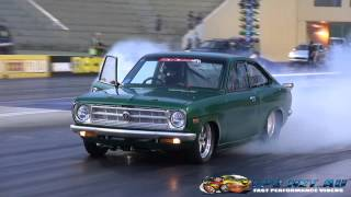 7 SEC 2JZ POWERED DATSUN COUPE AT SYDNEY DRAGWAY 24.10.2014