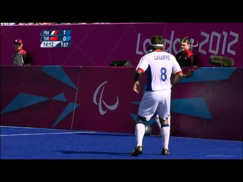 Football 5-a-side FRA vs TUR-1st half Match 10 Men's Team - B1 Prelims -London 2012 Paralympic Games
