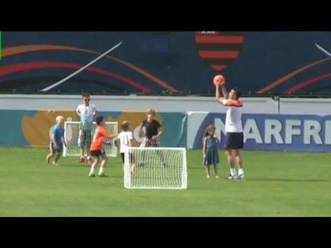 World Cup 2014 - Robin van Persie Entertains Players' Children After Holland Training