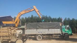Kẹp gắp gỗ cho máy xúc đào|Kẹp gắp gỗ xoay LH: 0987357463
