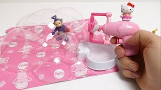 TELETUBBIES have Fun with Hello Kitty Bubble Maker Toy Gun