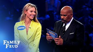 HEAVENS ABOVE! Angel Martha Hunt gets 197 points! | Celebrity Family Feud