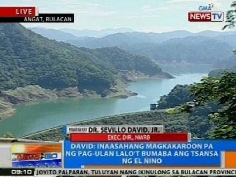NTG: Panayam kay Dr. Sevillo David, Jr. kaugnay sa posibleng water shortage sa 2015