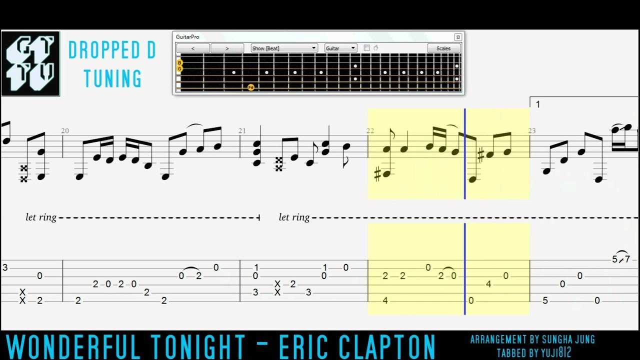 Wonderful Tonight Eric Clapton Fingerstyle Acoustic Guitar Pro Tabs Sungha Jung - YouTube