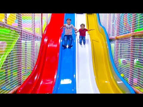 Funny baby play Kids Indoor Playground Fun Play Area Giant slides for kids IRL Nursery Rhymes