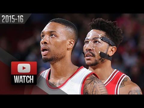 Derrick Rose vs Damian Lillard PG Duel Highlights (2015.11.24) Blazers vs Bulls - SICK!