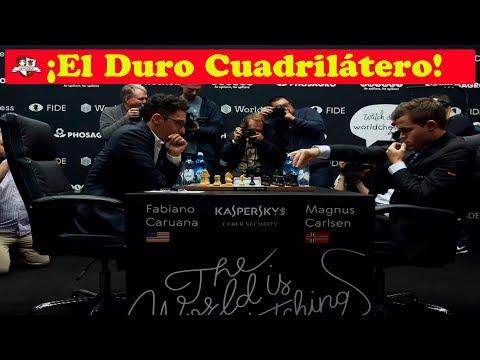 Magnus Carlsen VS Fabiano Caruana    Campeonato del Mundo de ajedrez 2018 (Ronda 1.3)