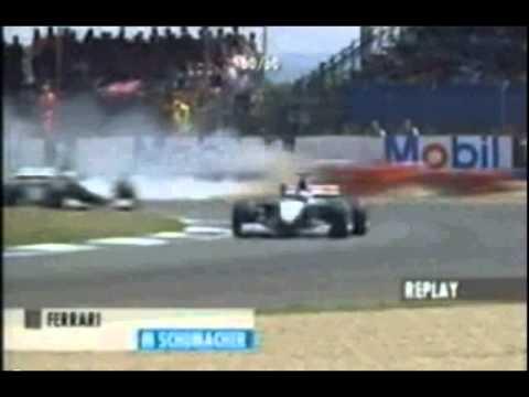 Michael Schumacher crashed and broke his leg at The 1999 British Grand Prix.