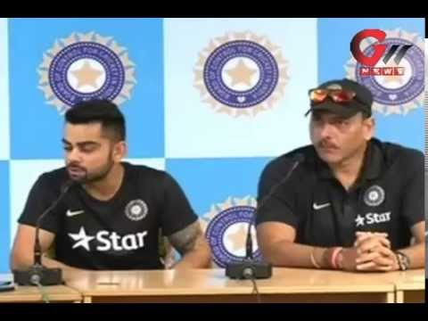 Virat Kohli & Ravi Shastri addressing a media press conference on  Bangladesh Tour