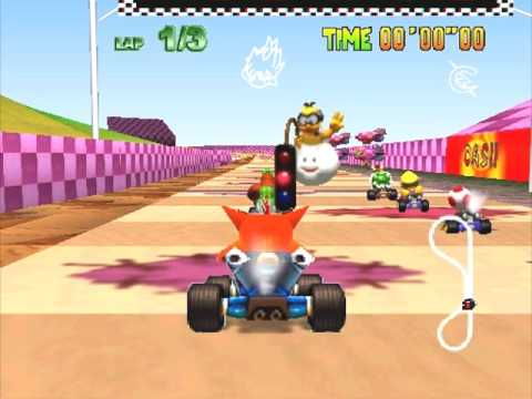 Crash in Mario Kart 64 +  Hot air Skyway TEXTURES HACK + Download!