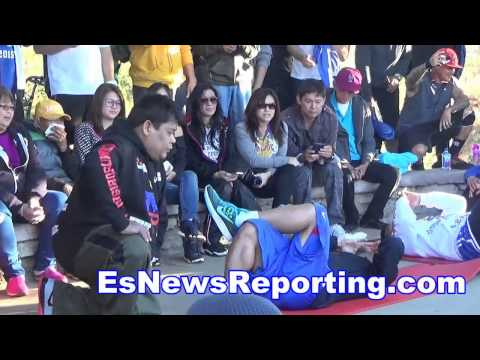 Full Video Manny Pacquiao vs Floyd Mayweather AM Workout - EsNews
