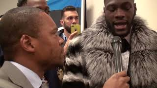 Deontay wilder  JOSHUA I'M COMING     IMMEDIATE POST FIGHT reacts to KNOCKING OUT Bermane Stiverne