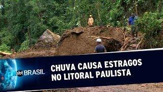 Chuvas fortes causam estragos no Litoral de São Paulo | SBT Brasil (20/05/19)