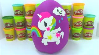 Giant Unicorno Playdoh Surprise Egg With Tokidoki Vinymations and Hello Kitty blind boxes