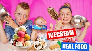 ICECREAM vs REAL FOOD CHALLENGE!!! [met de lekkerste ijsjes] ♥DeZoeteZusjes♥