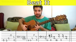 Michael Jackson Beat It  Fingerstyle Tutorial Guitar Lesson with TAB