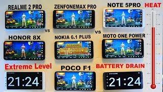 Extreme Level Battery Drain 100% -0% With PubG  #HEAT TEST#Redmi#Honor#Asus#Moto#Nokia#Realme..
