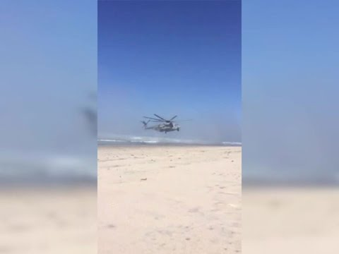 Marine helicopter lands on North County beach