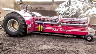 RC tractor EXTREME! Amazing Tractor pulling with sound and smoke.