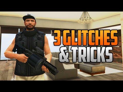GTA 5 Online - 3 NEW GLITCHES & TRICKS (Super Health Glitch, Weapons in Apartment & Secret Location)