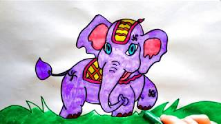 How to draw and paint a Hindu Elephant