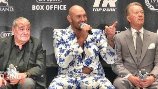 Tyson Fury post fight press conference after beating Tom Schwarz (+ singing w/ Arum & Warren)