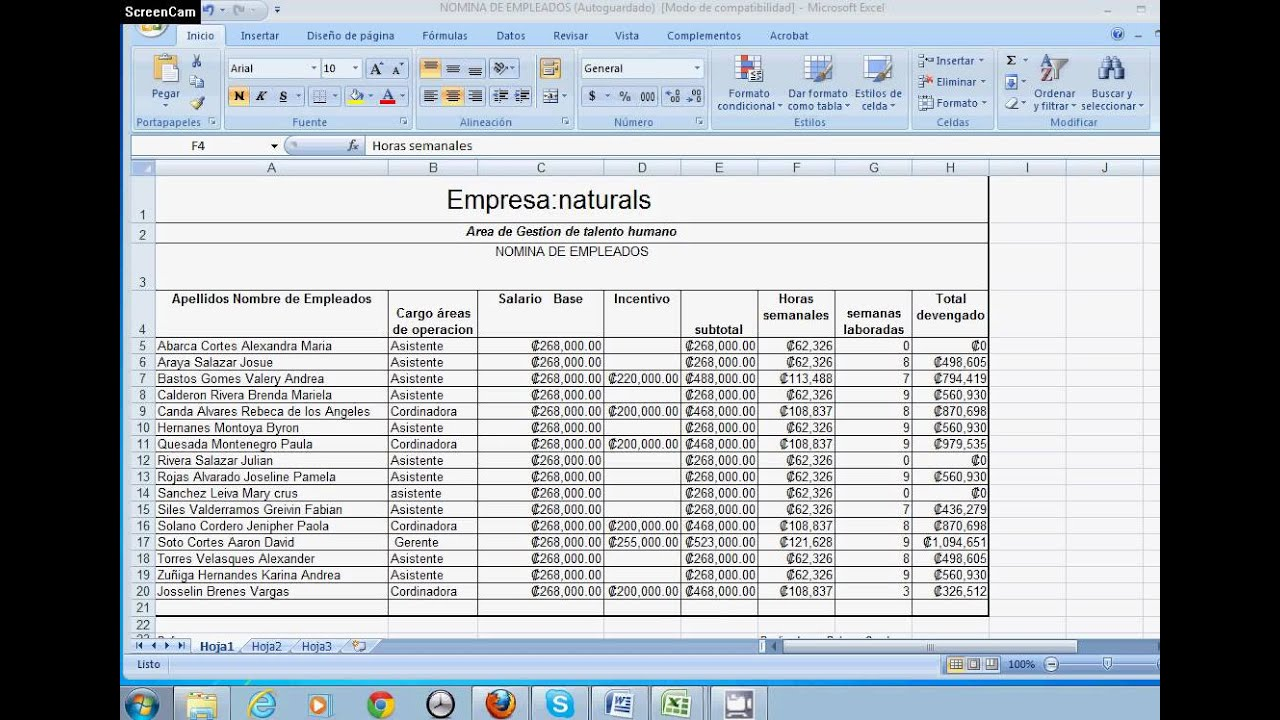 Nomina de pago youtube for Nomina en excel xls